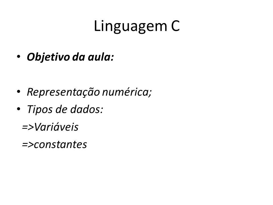 Linguagem C Objetivo da aula: Representação numérica; Tipos de dados: =>Variáveis =>constantes