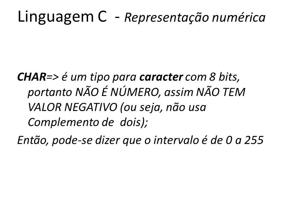 Linguagem C - Representação numérica CHAR=> é um tipo para caracter com 8 bits, portanto NÃO É NÚMERO, assim NÃO TEM VALOR NEGATIVO (ou seja, não usa Complemento de dois); Então, pode-se dizer que o intervalo é de 0 a 255