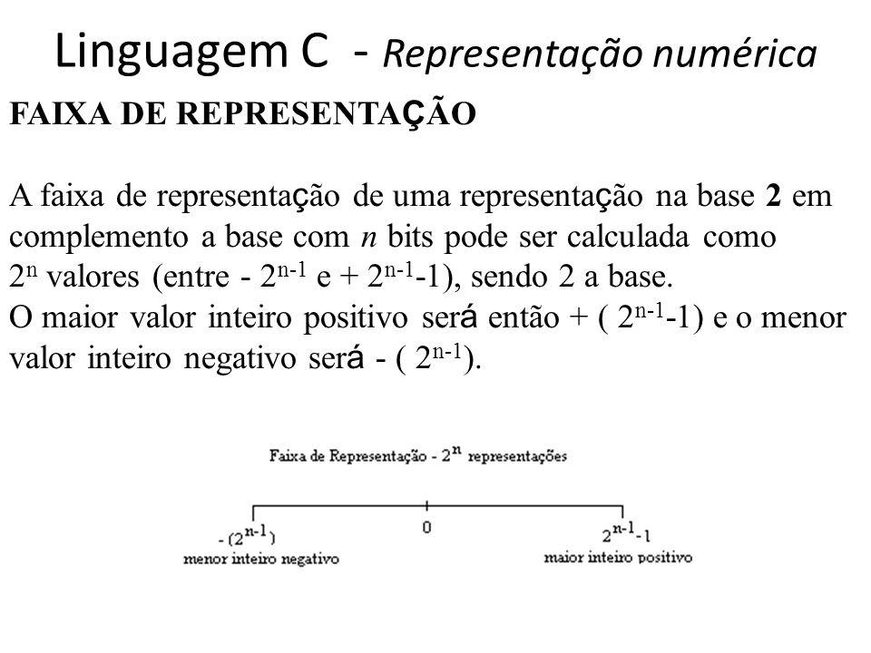 Linguagem C - Representação numérica FAIXA DE REPRESENTA Ç ÃO A faixa de representa ç ão de uma representa ç ão na base 2 em complemento a base com n bits pode ser calculada como 2 n valores (entre - 2 n-1 e + 2 n-1 -1), sendo 2 a base.
