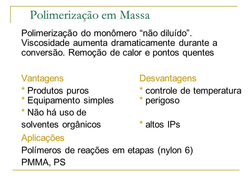 Sistemas Homogêneos Polimerização em massa (bulk) Polimerização em Solução Sistemas Heterogêneos Polimerização em Suspensão Polimerização em Emulsão P