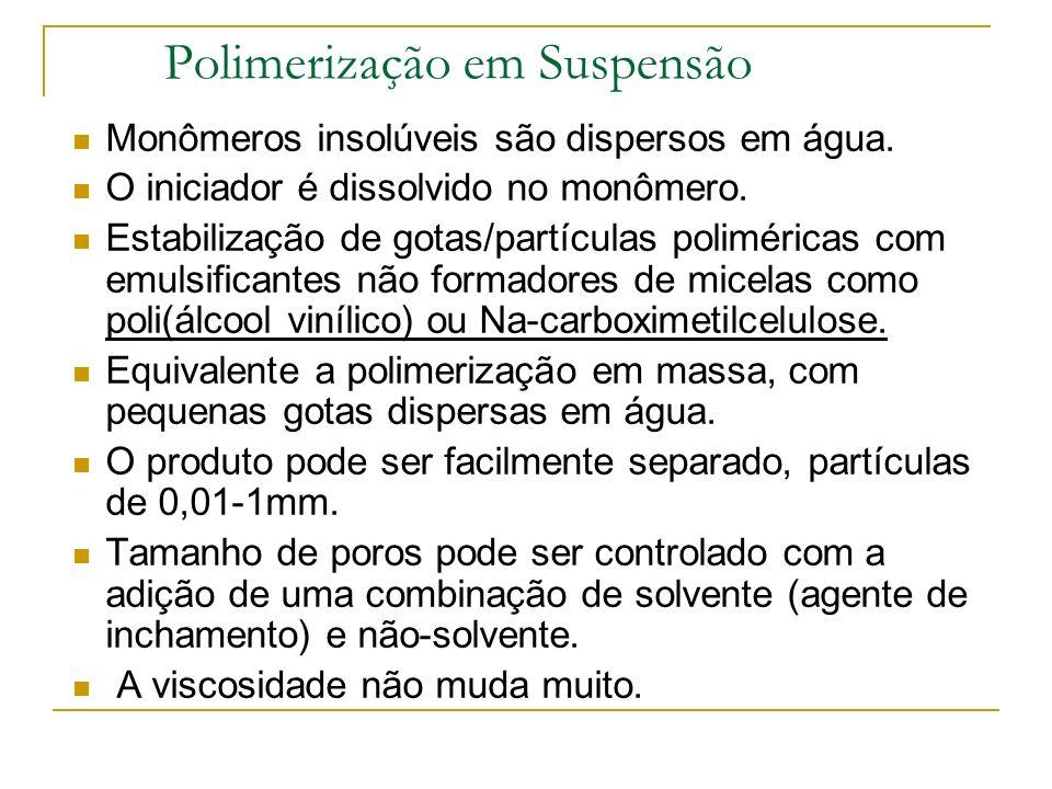 Polimerização em Solução Monômero dissolvido no solvente, o polímero formado continua dissolvido. Dependendo da concentração do monômero a viscosidade