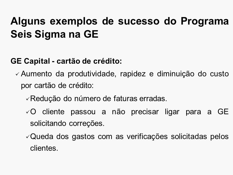 Alguns exemplos de sucesso do Programa Seis Sigma na GE GE Capital - cartão de crédito: Aumento da produtividade, rapidez e diminuição do custo por cartão de crédito: Redução do número de faturas erradas.