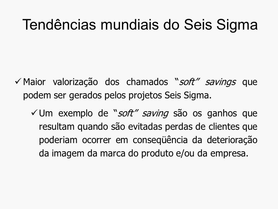 Maior valorização dos chamados soft savings que podem ser gerados pelos projetos Seis Sigma.
