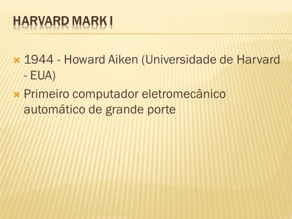 1944 - Howard Aiken (Universidade de Harvard - EUA) Primeiro computador eletromecânico automático de grande porte