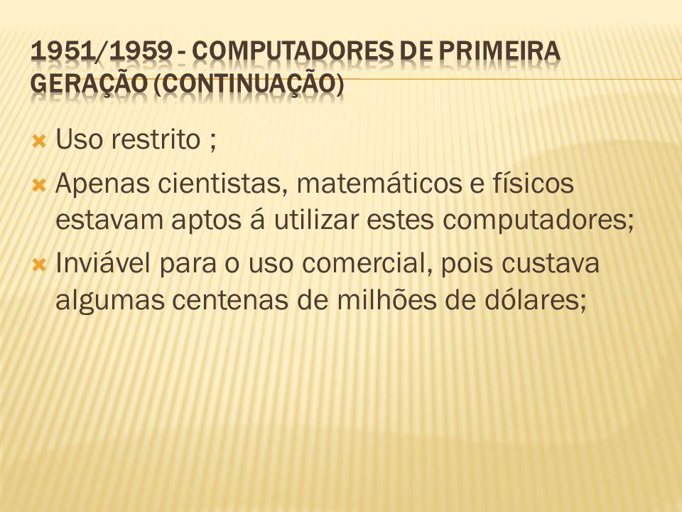 Uso restrito ; Apenas cientistas, matemáticos e físicos estavam aptos á utilizar estes computadores; Inviável para o uso comercial, pois custava algum