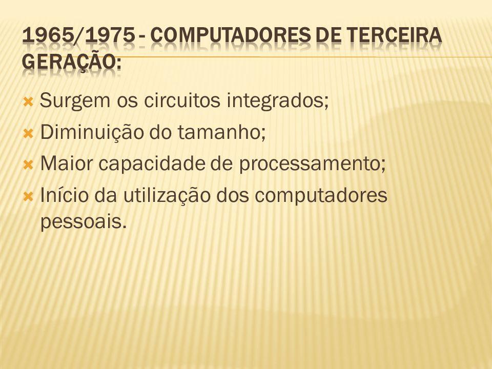 Surgem os circuitos integrados; Diminuição do tamanho; Maior capacidade de processamento; Início da utilização dos computadores pessoais.