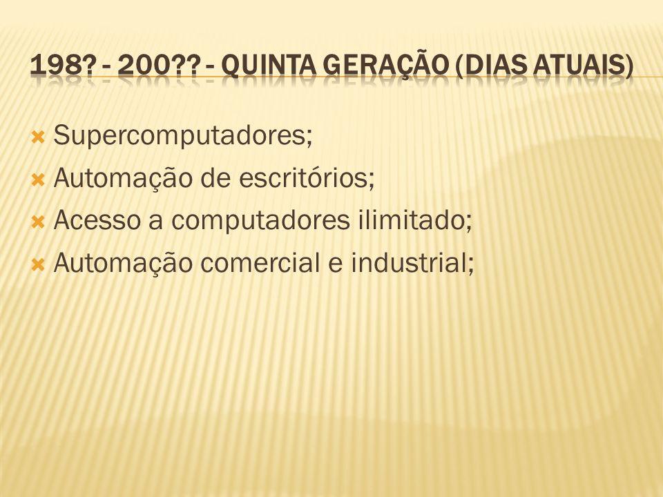 Supercomputadores; Automação de escritórios; Acesso a computadores ilimitado; Automação comercial e industrial;