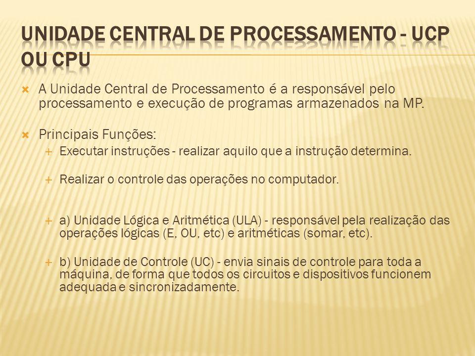 A Unidade Central de Processamento é a responsável pelo processamento e execução de programas armazenados na MP. Principais Funções: Executar instruçõ