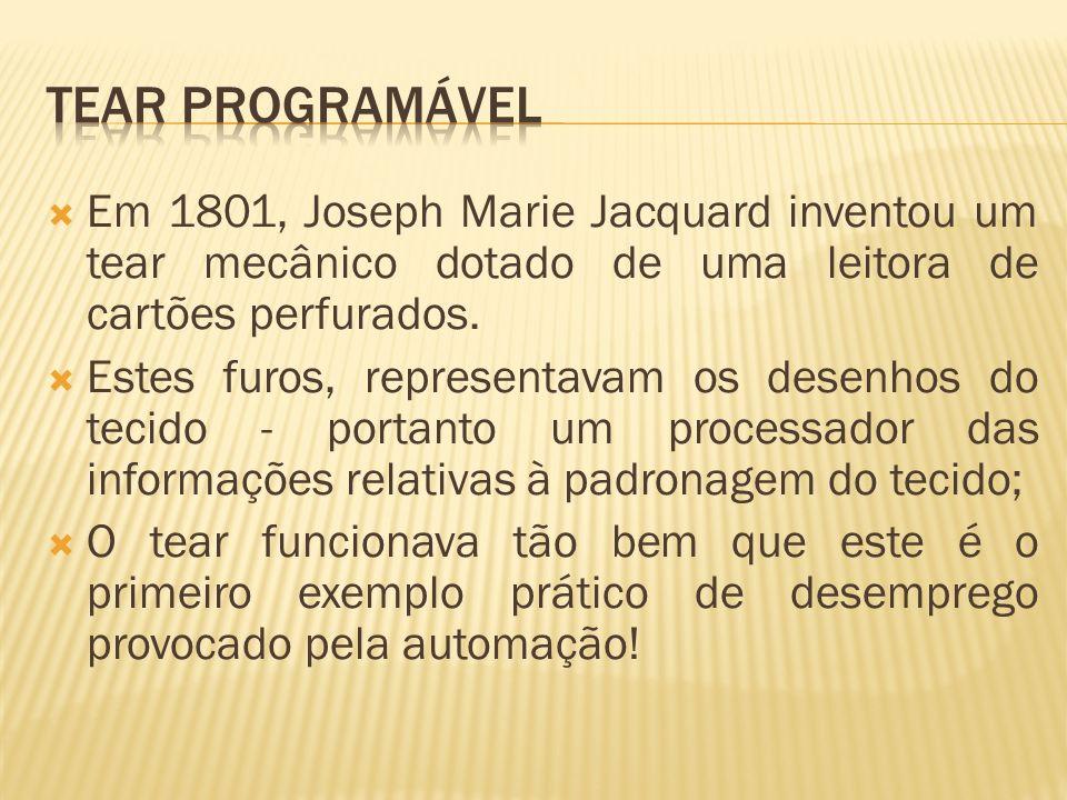 Em 1801, Joseph Marie Jacquard inventou um tear mecânico dotado de uma leitora de cartões perfurados. Estes furos, representavam os desenhos do tecido