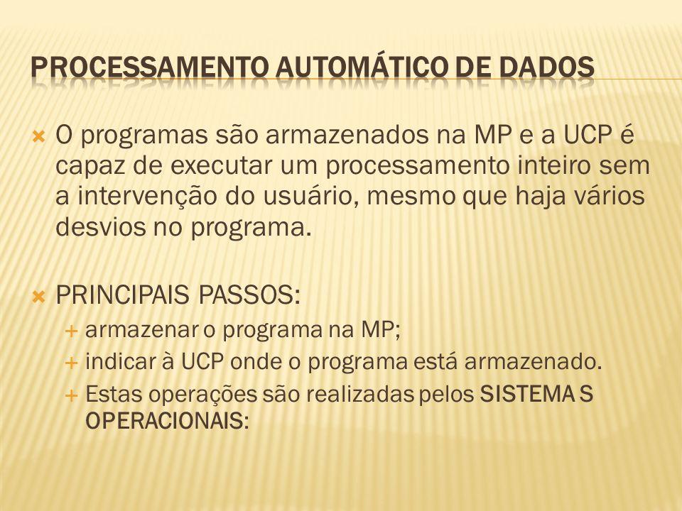 O programas são armazenados na MP e a UCP é capaz de executar um processamento inteiro sem a intervenção do usuário, mesmo que haja vários desvios no