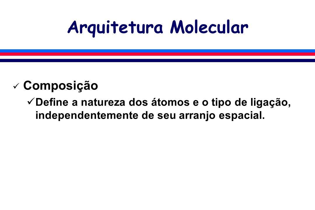Arquitetura Molecular Composição Define a natureza dos átomos e o tipo de ligação, independentemente de seu arranjo espacial.