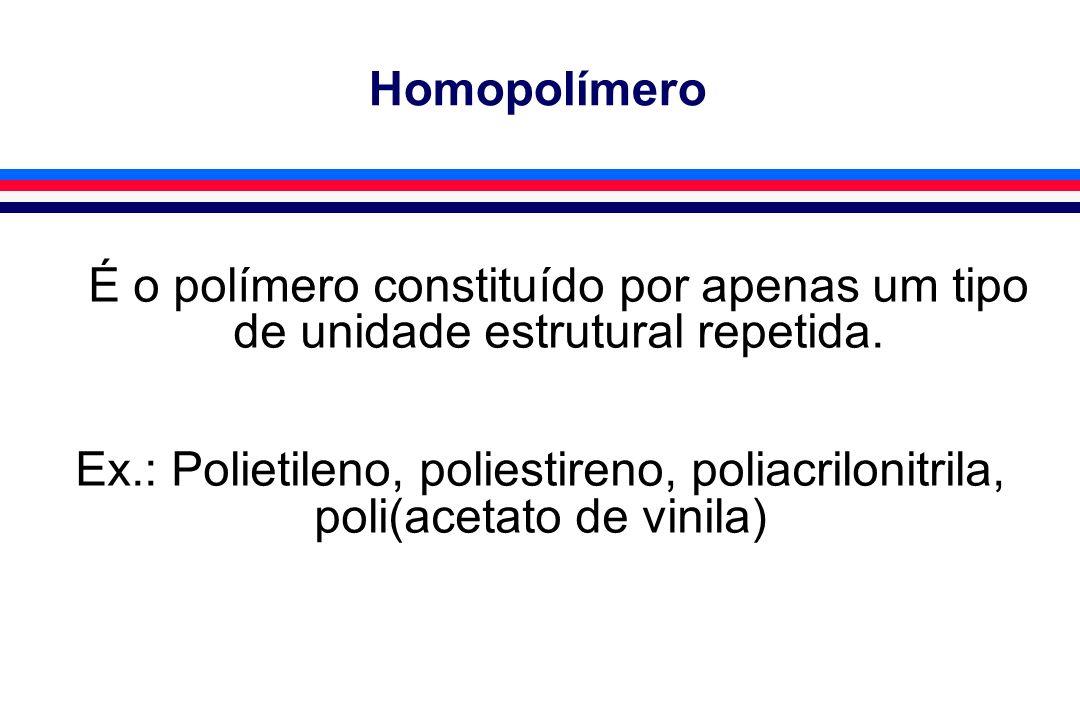 Homopolímero É o polímero constituído por apenas um tipo de unidade estrutural repetida. Ex.: Polietileno, poliestireno, poliacrilonitrila, poli(aceta