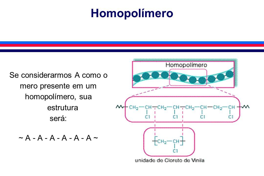 Homopolímero Se considerarmos A como o mero presente em um homopolímero, sua estrutura será: ~ A - A - A - A - A - A ~
