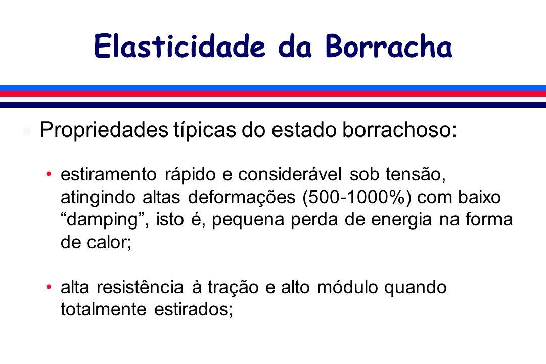 Elasticidade da Borracha l Propriedades típicas do estado borrachoso: estiramento rápido e considerável sob tensão, atingindo altas deformações (500-1000%) com baixo damping, isto é, pequena perda de energia na forma de calor; alta resistência à tração e alto módulo quando totalmente estirados;