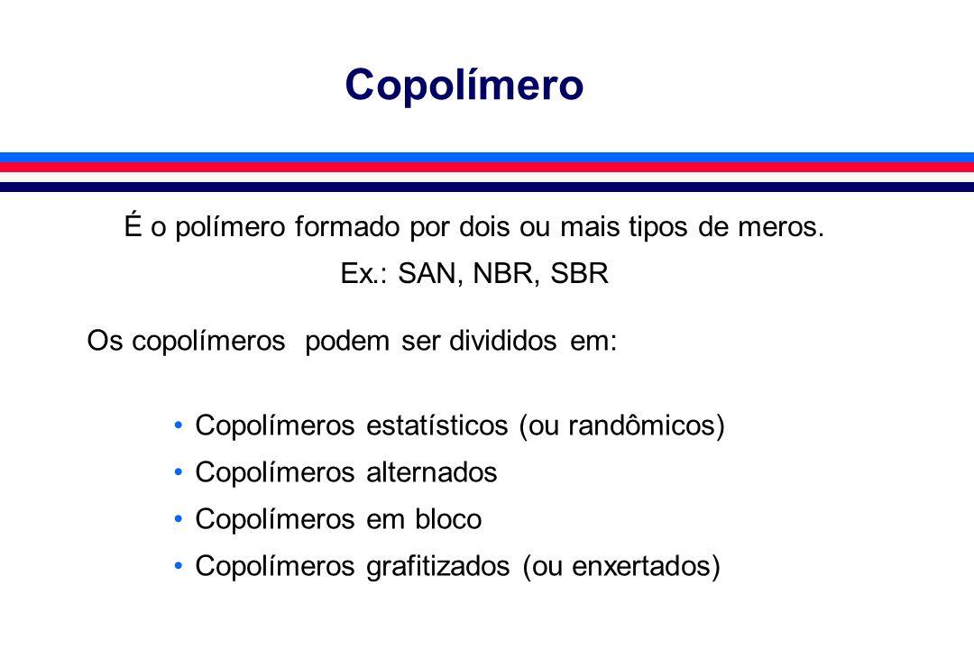 Copolímero É o polímero formado por dois ou mais tipos de meros. Ex.: SAN, NBR, SBR Os copolímeros podem ser divididos em: Copolímeros estatísticos (o