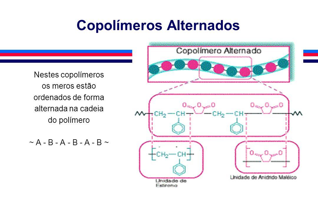 Copolímeros Alternados Nestes copolímeros os meros estão ordenados de forma alternada na cadeia do polímero ~ A - B - A - B - A - B ~
