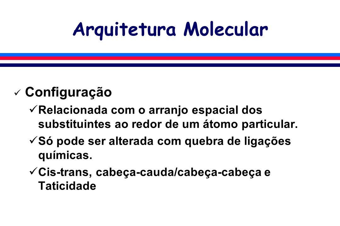 Arquitetura Molecular Configuração Relacionada com o arranjo espacial dos substituintes ao redor de um átomo particular. Só pode ser alterada com queb