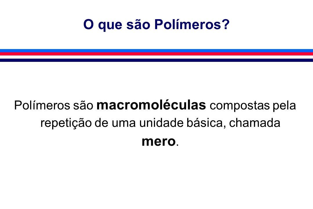 O que são Polímeros? Polímeros são macromoléculas compostas pela repetição de uma unidade básica, chamada mero.