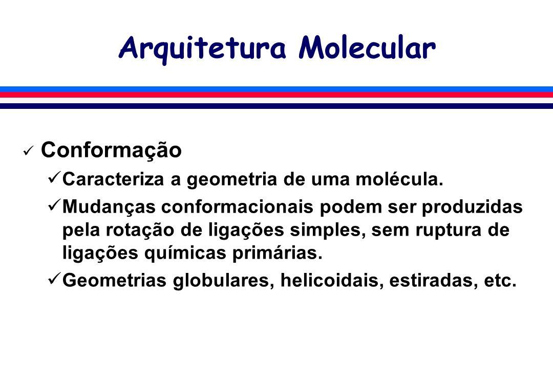 Arquitetura Molecular Conformação Caracteriza a geometria de uma molécula. Mudanças conformacionais podem ser produzidas pela rotação de ligações simp