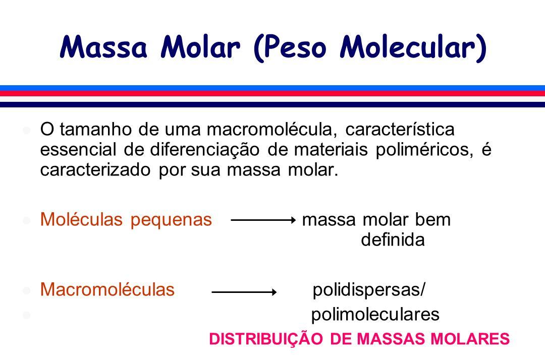 Massa Molar (Peso Molecular) l O tamanho de uma macromolécula, característica essencial de diferenciação de materiais poliméricos, é caracterizado por sua massa molar.