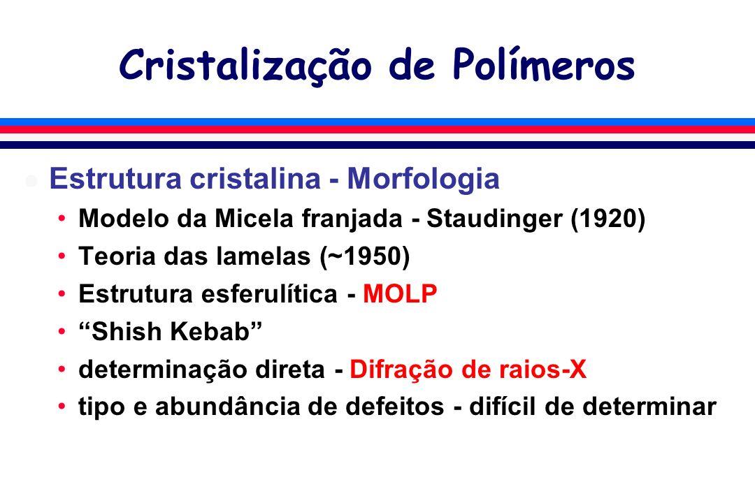 Cristalização de Polímeros l Estrutura cristalina - Morfologia Modelo da Micela franjada - Staudinger (1920) Teoria das lamelas (~1950) Estrutura esferulítica - MOLP Shish Kebab determinação direta - Difração de raios-X tipo e abundância de defeitos - difícil de determinar