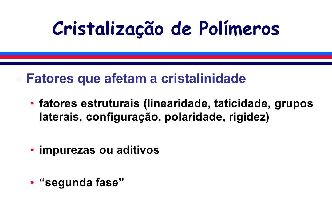 Cristalização de Polímeros l Fatores que afetam a cristalinidade fatores estruturais (linearidade, taticidade, grupos laterais, configuração, polaridade, rigidez) impurezas ou aditivos segunda fase