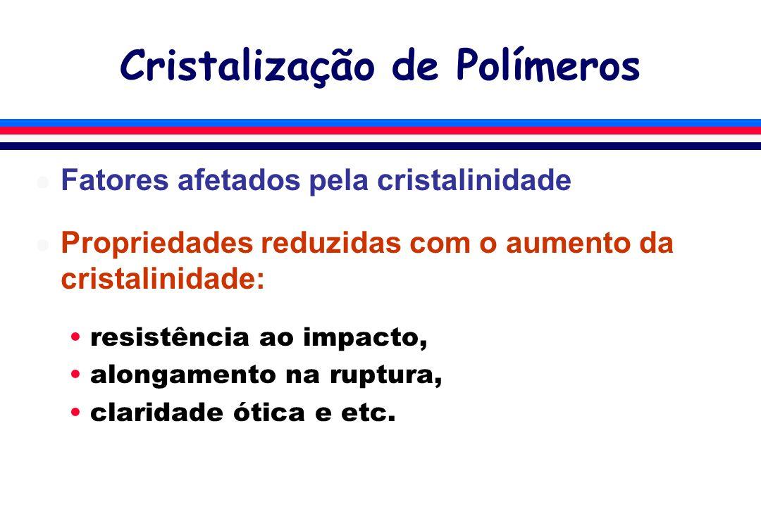 Cristalização de Polímeros l Fatores afetados pela cristalinidade l Propriedades reduzidas com o aumento da cristalinidade: resistência ao impacto, alongamento na ruptura, claridade ótica e etc.