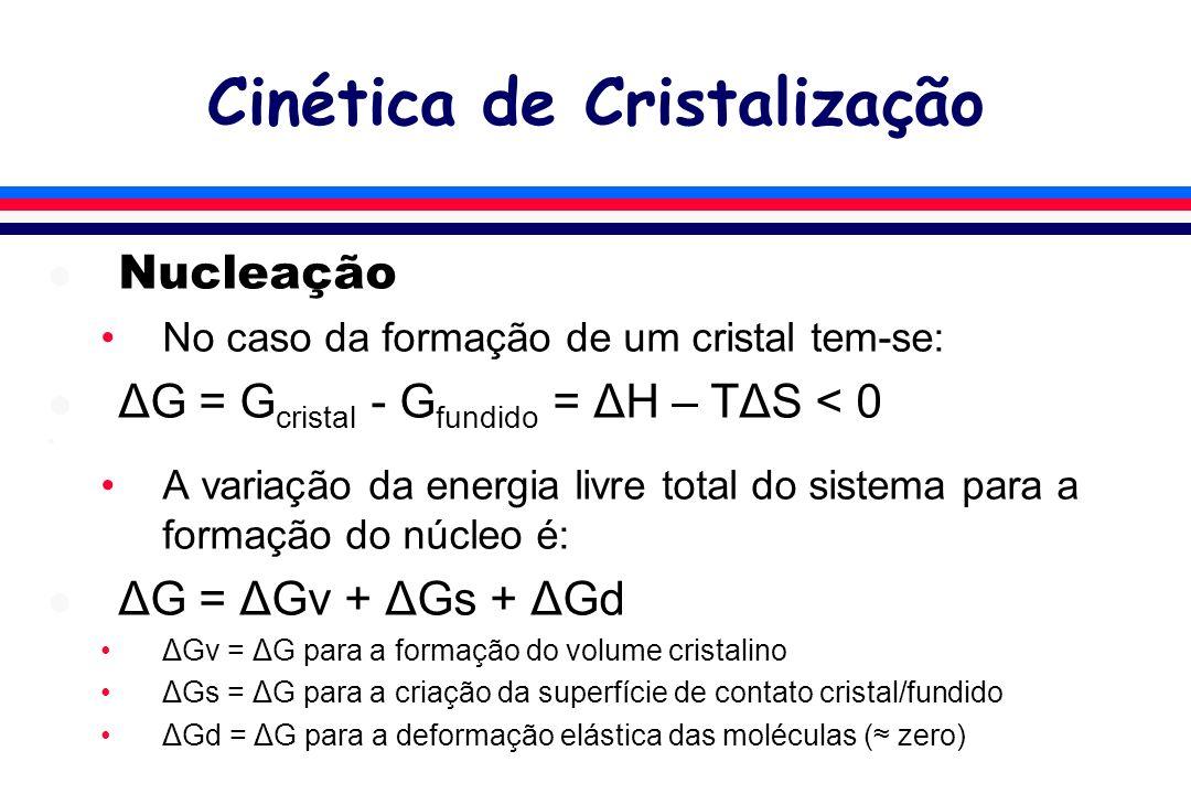 l Nucleação No caso da formação de um cristal tem-se: l ΔG = G cristal - G fundido = ΔH – TΔS < 0 l A variação da energia livre total do sistema para