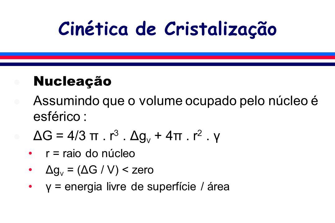 Cinética de Cristalização l Nucleação l Assumindo que o volume ocupado pelo núcleo é esférico : l ΔG = 4/3 π. r 3. Δg v + 4π. r 2. γ r = raio do núcle