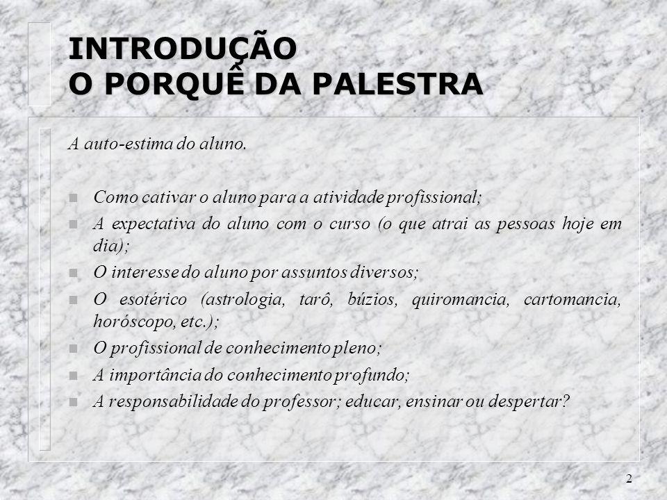 2 INTRODUÇÃO O PORQUÊ DA PALESTRA A auto-estima do aluno.