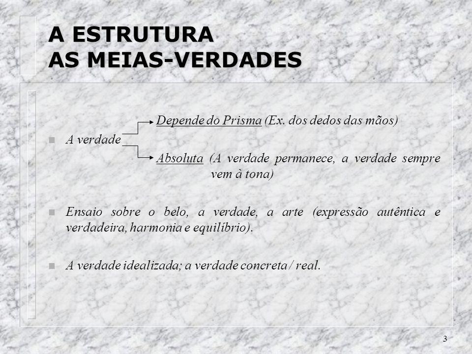 3 A ESTRUTURA AS MEIAS-VERDADES Depende do Prisma (Ex.