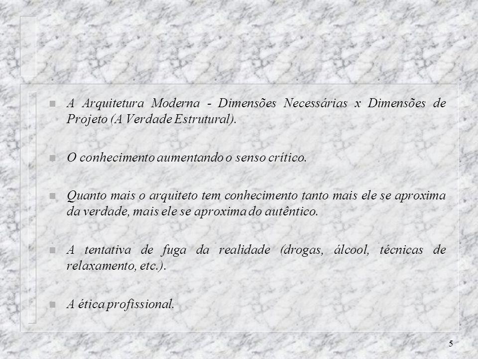 5 n A Arquitetura Moderna - Dimensões Necessárias x Dimensões de Projeto (A Verdade Estrutural).
