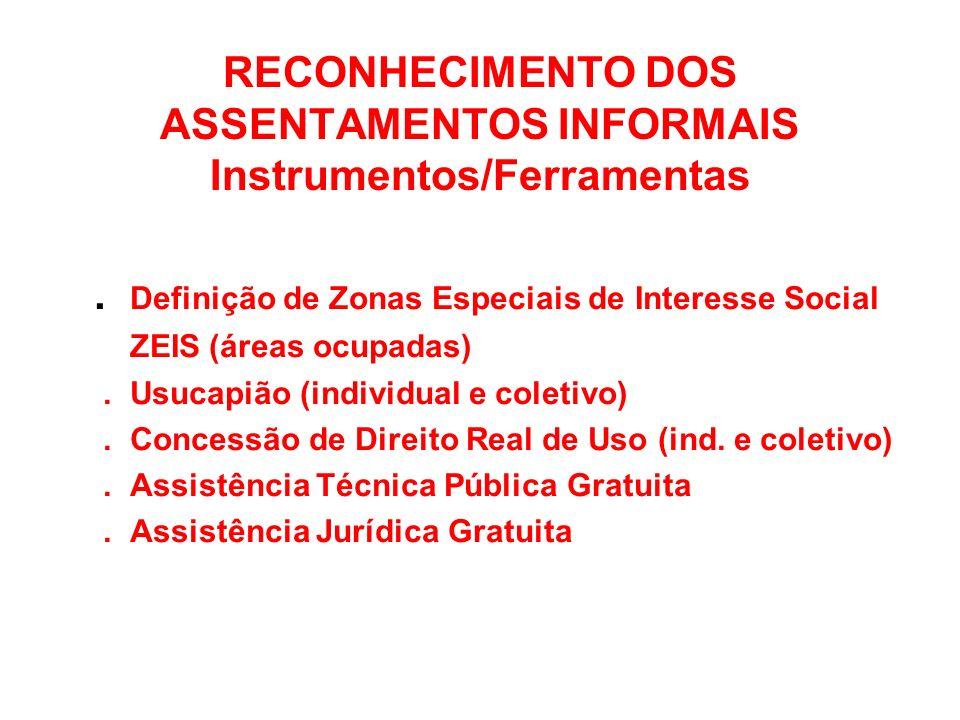 RECONHECIMENTO DOS ASSENTAMENTOS INFORMAIS Instrumentos/Ferramentas. Definição de Zonas Especiais de Interesse Social ZEIS (áreas ocupadas). Usucapião