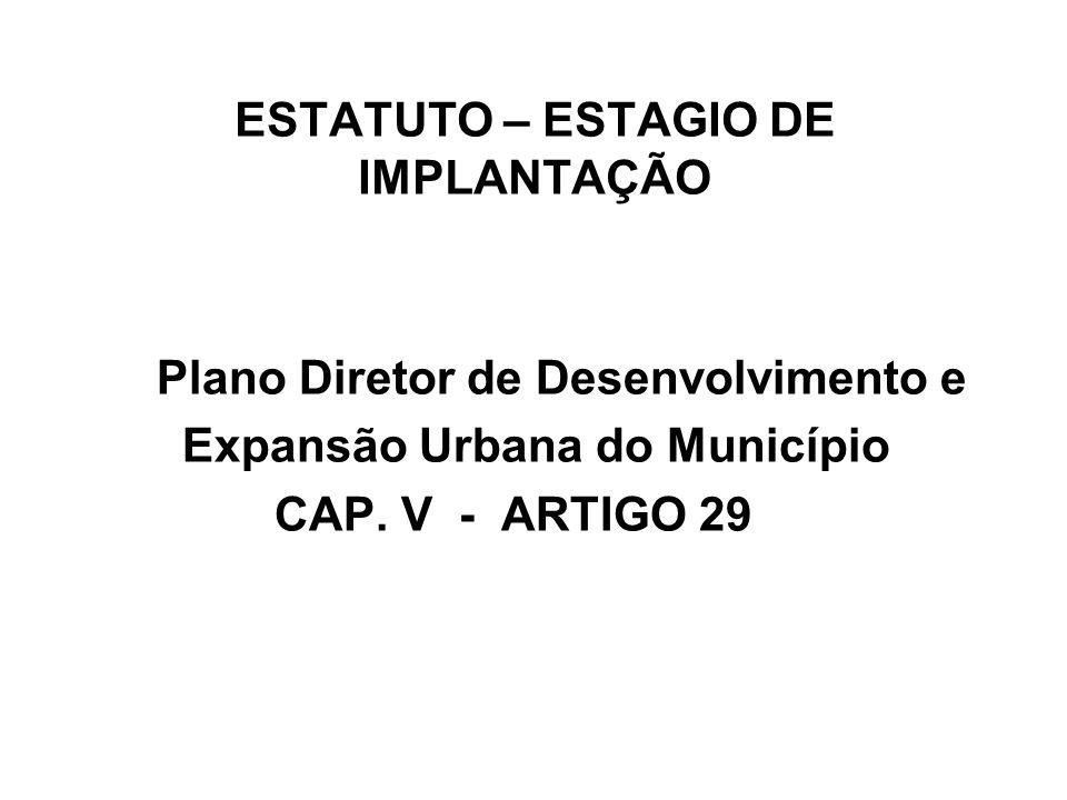 ESTATUTO – ESTAGIO DE IMPLANTAÇÃO Plano Diretor de Desenvolvimento e Expansão Urbana do Município CAP. V - ARTIGO 29
