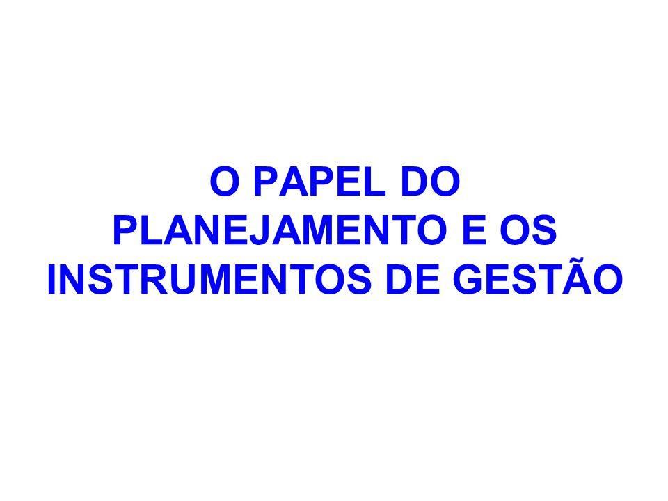 O PAPEL DO PLANEJAMENTO E OS INSTRUMENTOS DE GESTÃO