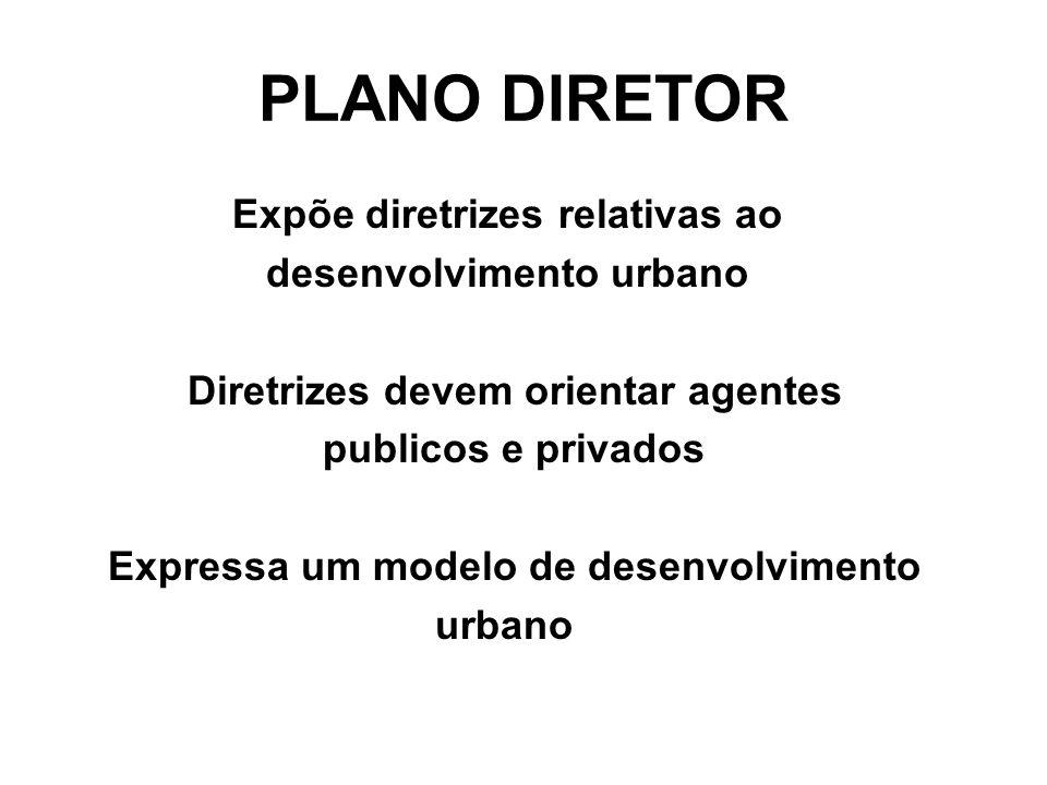 PLANO DIRETOR Expõe diretrizes relativas ao desenvolvimento urbano Diretrizes devem orientar agentes publicos e privados Expressa um modelo de desenvo