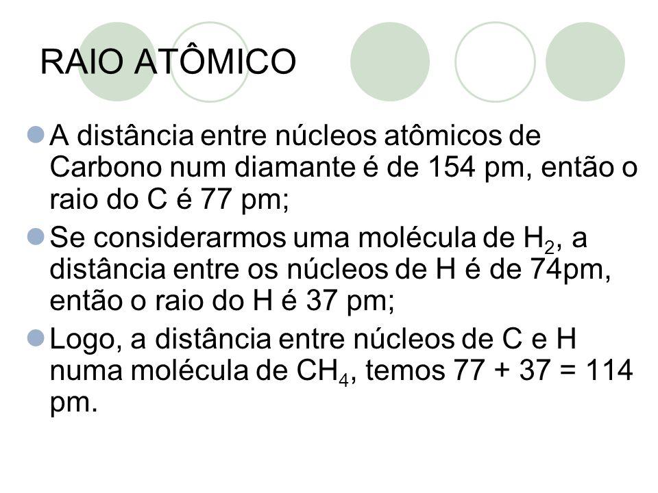 A distância entre núcleos atômicos de Carbono num diamante é de 154 pm, então o raio do C é 77 pm; Se considerarmos uma molécula de H 2, a distância e