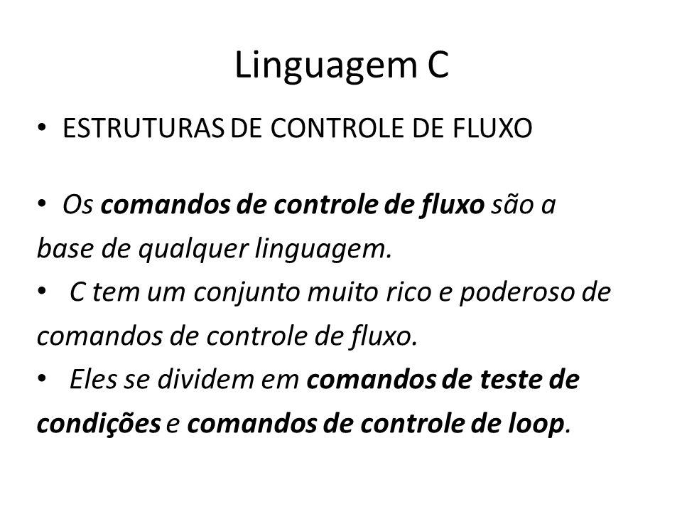 Linguagem C Comandos de testes de condições Estes comandos avaliam uma condição e executam um bloco de código de acordo com o resultado.