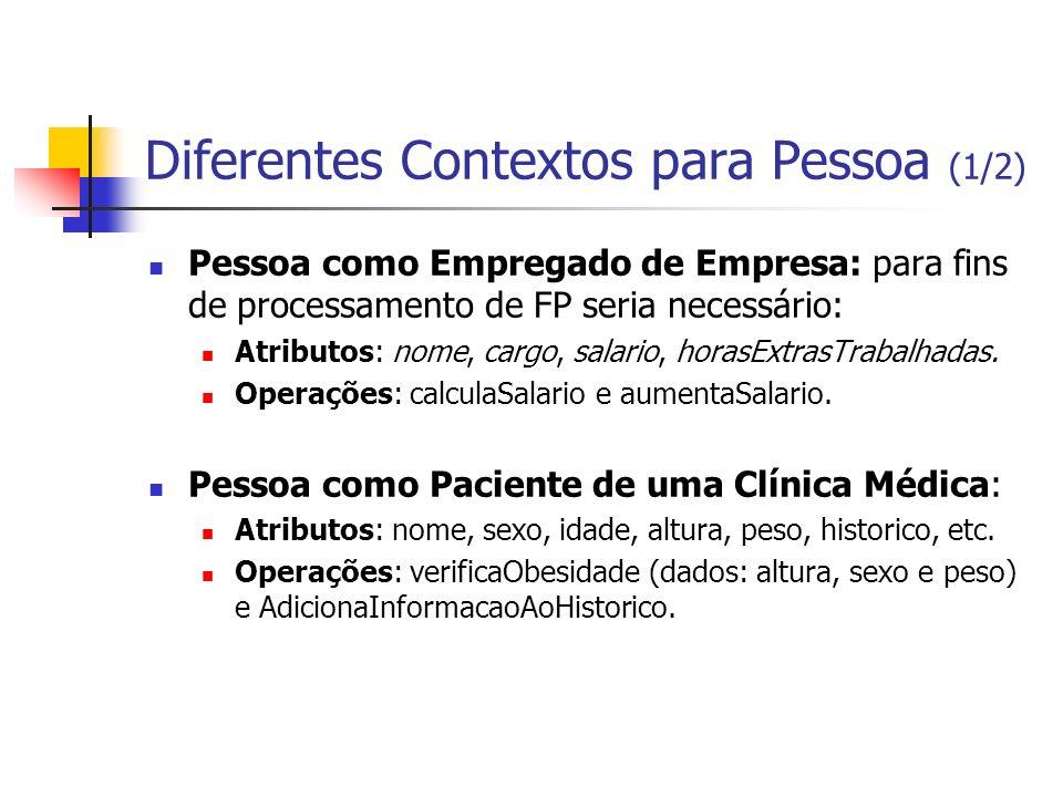 Diferentes Contextos para Pessoa (1/2) Pessoa como Empregado de Empresa: para fins de processamento de FP seria necessário: Atributos: nome, cargo, sa
