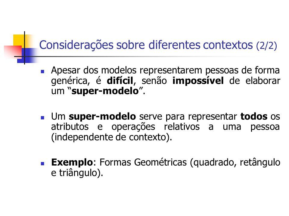 Considerações sobre diferentes contextos (2/2) Apesar dos modelos representarem pessoas de forma genérica, é difícil, senão impossível de elaborar um