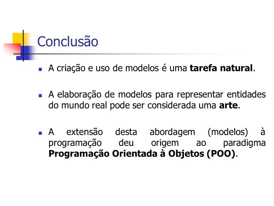 Conclusão A criação e uso de modelos é uma tarefa natural. A elaboração de modelos para representar entidades do mundo real pode ser considerada uma a