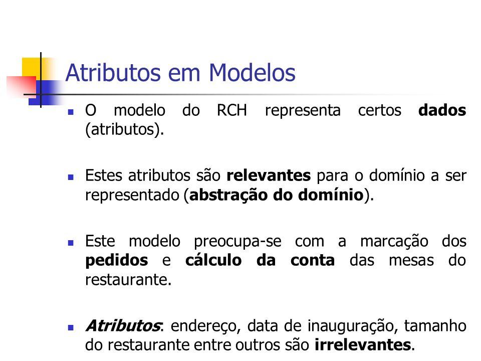 Atributos em Modelos O modelo do RCH representa certos dados (atributos). Estes atributos são relevantes para o domínio a ser representado (abstração