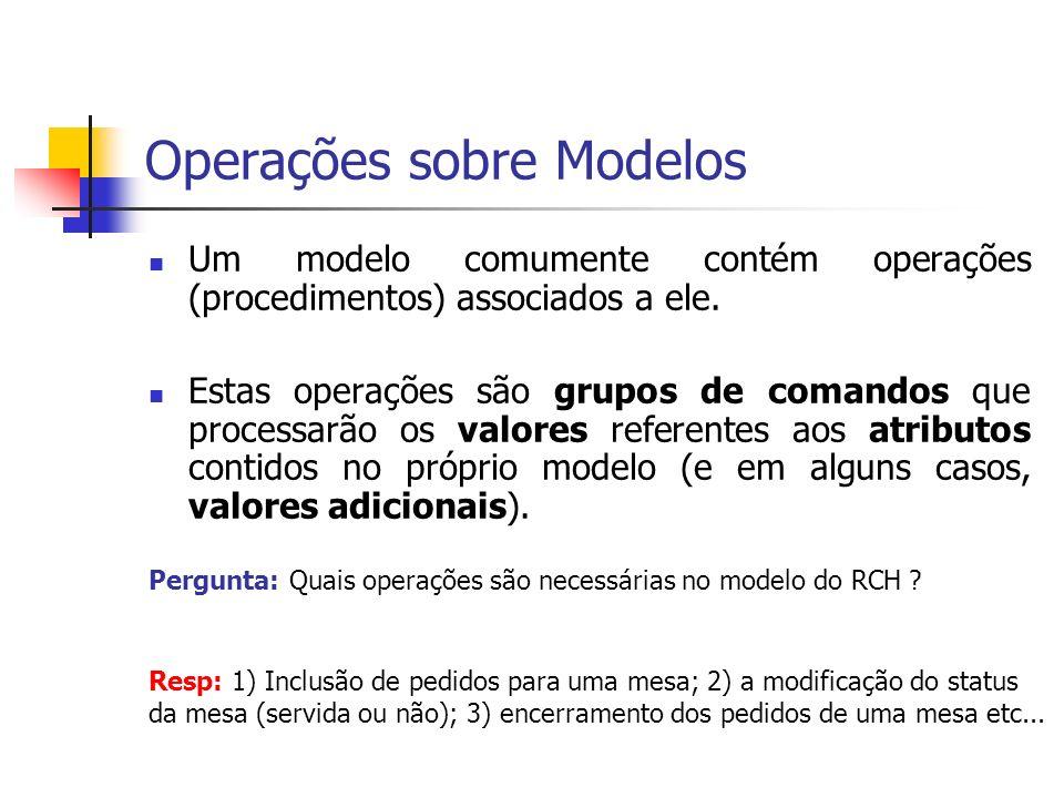 Operações sobre Modelos Um modelo comumente contém operações (procedimentos) associados a ele. Estas operações são grupos de comandos que processarão