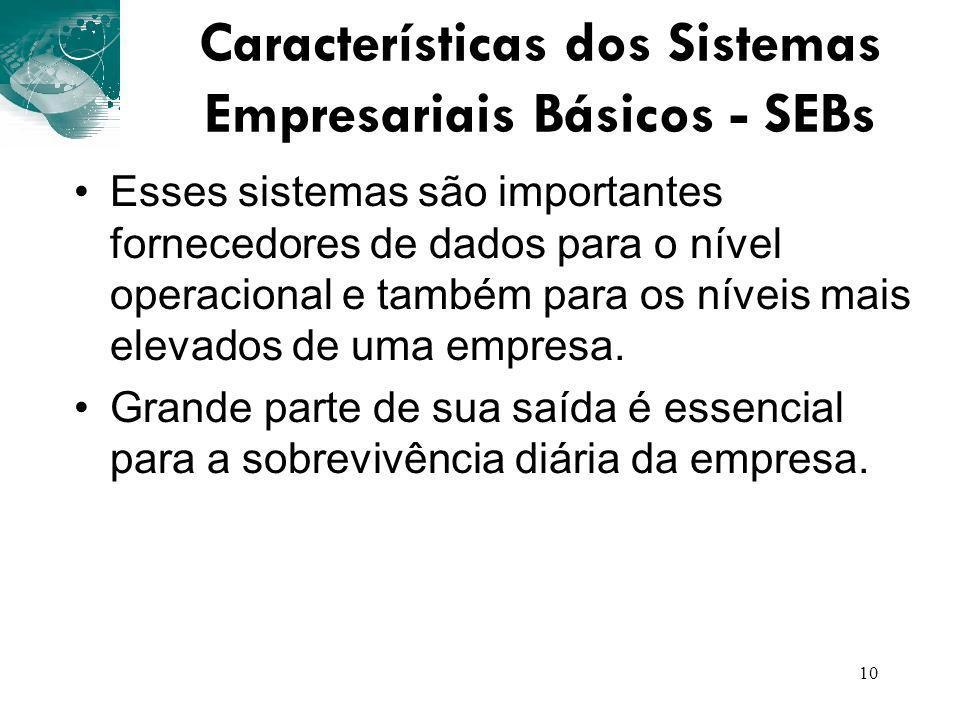 10 Características dos Sistemas Empresariais Básicos - SEBs Esses sistemas são importantes fornecedores de dados para o nível operacional e também par