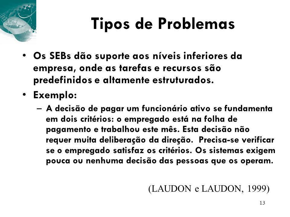 13 Tipos de Problemas Os SEBs dão suporte aos níveis inferiores da empresa, onde as tarefas e recursos são predefinidos e altamente estruturados. Exem