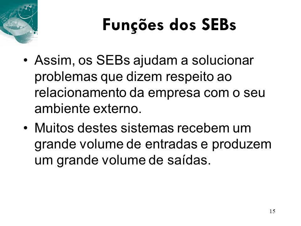 15 Funções dos SEBs Assim, os SEBs ajudam a solucionar problemas que dizem respeito ao relacionamento da empresa com o seu ambiente externo. Muitos de
