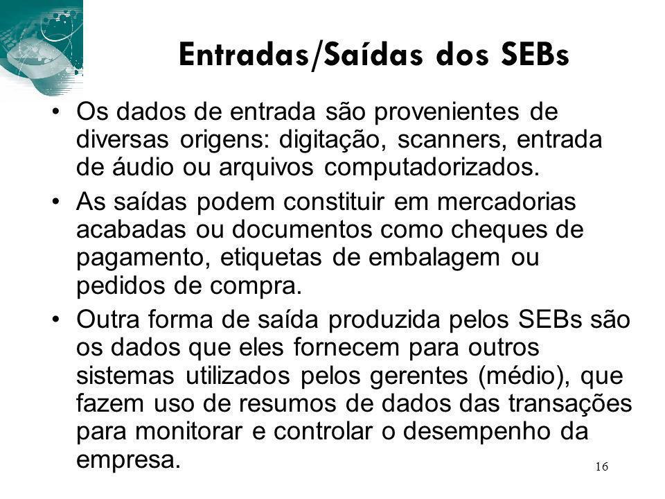16 Entradas/Saídas dos SEBs Os dados de entrada são provenientes de diversas origens: digitação, scanners, entrada de áudio ou arquivos computadorizad