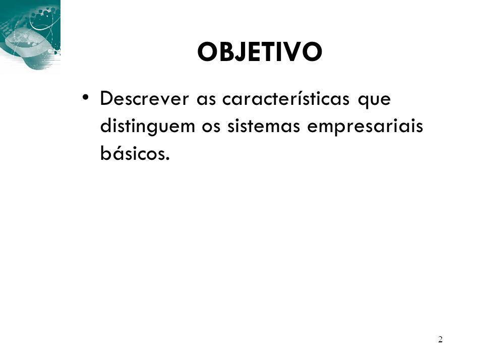 2 OBJETIVO Descrever as características que distinguem os sistemas empresariais básicos.