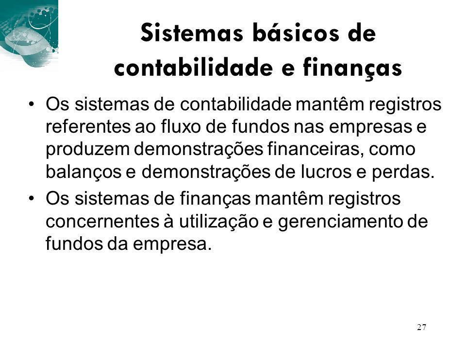 27 Os sistemas de contabilidade mantêm registros referentes ao fluxo de fundos nas empresas e produzem demonstrações financeiras, como balanços e demo