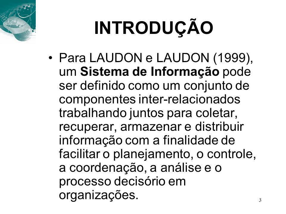 3 INTRODUÇÃO Para LAUDON e LAUDON (1999), um Sistema de Informação pode ser definido como um conjunto de componentes inter-relacionados trabalhando ju